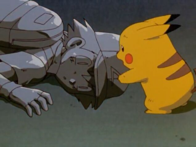 Ash turned to stone after being struck by Mew's Psyshock.