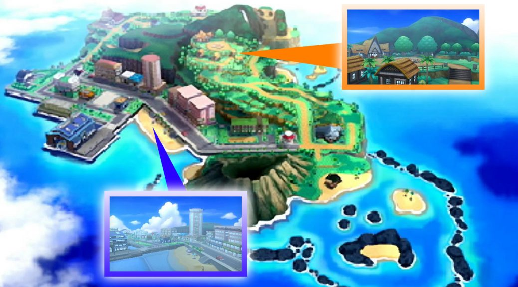 What we see of Alola so far: some routes, some cities, a volcano, a surrounding crescent island, and not much else.