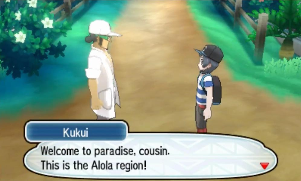 Your cousin, apparently the island professor's aide, welcomes you to Alola.