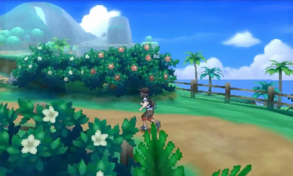 The player walks through a path filled with local, possibly tropical plants. Check out that typical tropical backdrop!