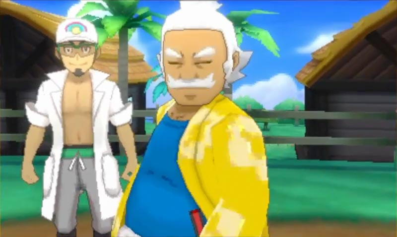 Hala, with his aloha shirt. Check out Professor Kukui in the background, too, who isn't as… clothed.