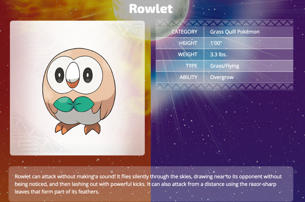 Rowlet (Grass/Flying)