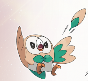 Rowlet firing its leaves with the move 'Leafage'.