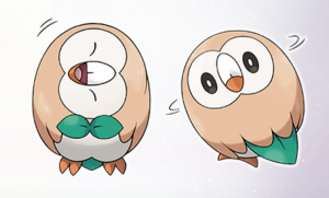 Rowlet swivels its head up to 180 degrees!