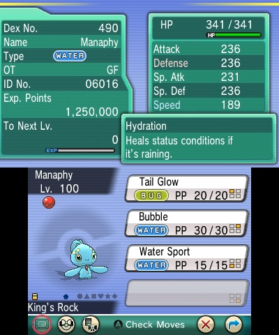 Bubble, the move used by a level 100 Pokémon.