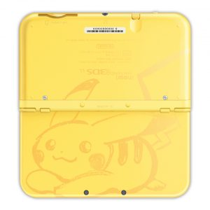 The front of the Pikachu New 3DS XLs, with its adorable sketched-out Pikachu.
