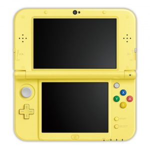 The inside of the Pikachu-themed New 3DS XLs, exclusively colored yellow.