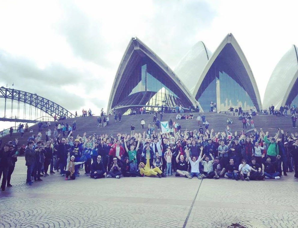 Not shown - the thousands of other players wandering around elsewhere in Sydney, phone in hand. Moments after the photo, everyone shouted about the nearby Pikachu.