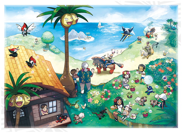 An official illustration showing new Alola-native Pokémon and forms.
