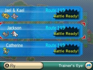 Trainer's Eye shows rematchable Trainers. Gym Leaders will be greyed out, meaning you can't rematch them.
