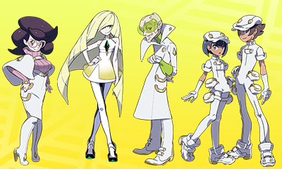 Left to right: Wicke, Lusamine, Faba, and Aether Foundation grunts (or 'employees').