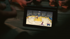 Two tablets are used for a game of basketball.