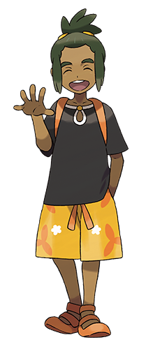 Hau, a friend the player meets at the start of the story.