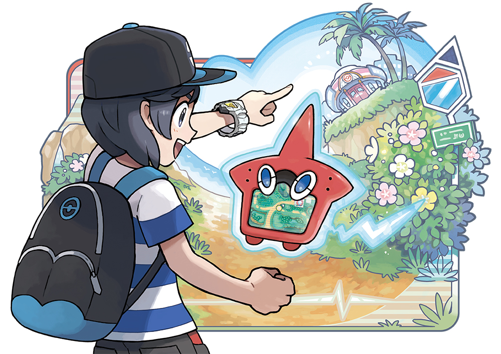 Illustration of the player character using the Rotom Pokédex.
