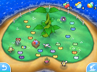 Isle Abeens, where a large Poké Beanstalk in the ground grows beans and many are dropped on the ground.