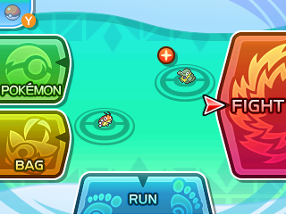 """New main battle screen has Fight, Pokémon, Bag and Run, as well as a handy """"throw Poké Ball"""" icon and the Pokémon icons to indicate stat changes and more."""