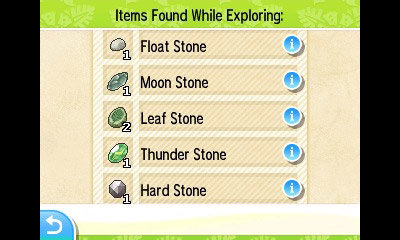 You can find items like Evolution Stones from Poké Pelago as well.
