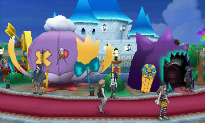 Inside the Festival Plaza. Stalls line the plaza, surrounded by a castle. Other players may be found on the walkway.