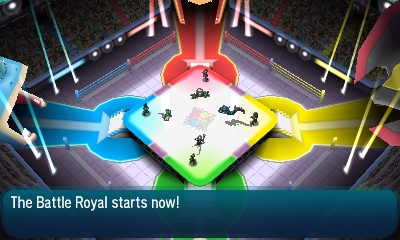 """""""The Battle Royal starts now!"""" - Four Trainers are lined up for battle."""