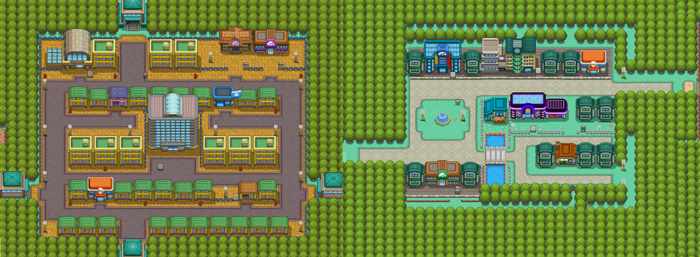 Mapshots of Celadon and Saffron City.