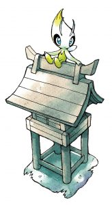 Illustration of Celebi sitting atop the Ilex Forest Shrine.