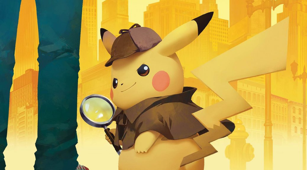 Image of Detective Pikachu wielding a magnifying glass and hat, standing next to his partner. Set to a backdrop of a city.