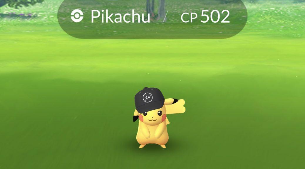 Wild battle with a Pikachu wearing a Hiroshi Fujiwara cap.
