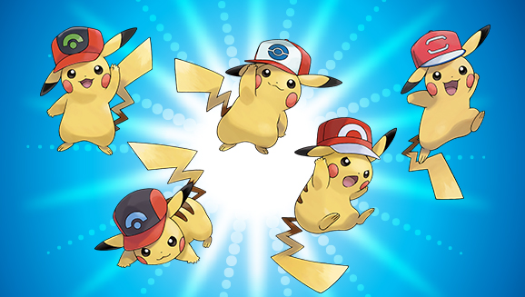 Images depicting the five Ash Hat Pikachu available for distribution.