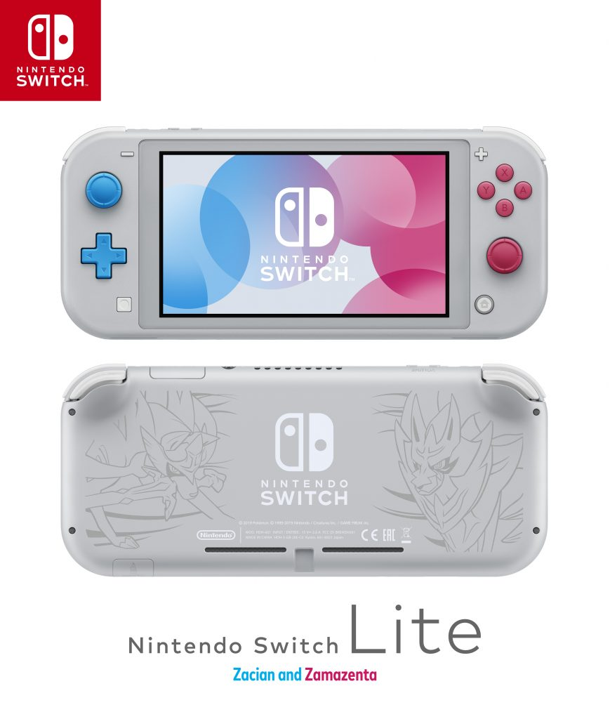 Console image of the Nintendo Switch Lite Zacian and Zamazenta Edition, front and back. Logo also pictured.