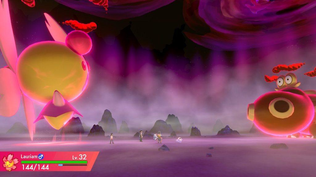 Screenshot of a Dynamaxed Cherrim in a raid against a Hippopotas
