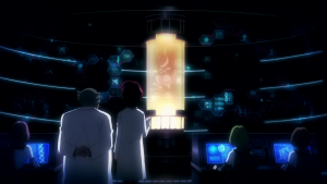 Mewtwo and its creators in a lab