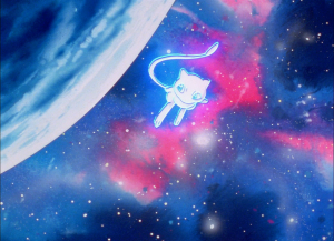 Mew flying in space from the anime opening
