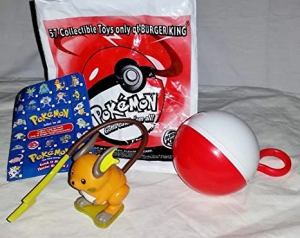 1999 Burger king promotion toy. Includes Raichu, Poke ball keychain, a card and plastic bag.