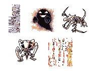 Missingno's 5 forms - the Red/Blue blocky L, the ghost, the aerodactyl and kabutops fossils, and the glitchy block seen in Yellow