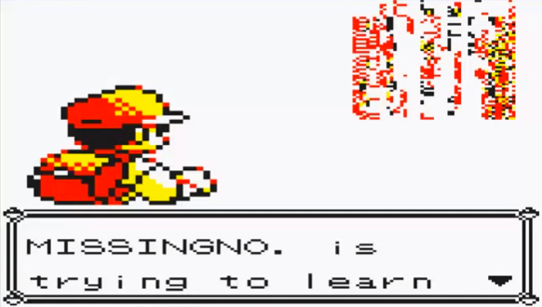 """missingno encounter in Yellow where the text says """"missingno is trying to learn"""""""