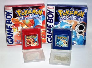 pokemon red and blue gameboy cartridges, cases and boxes